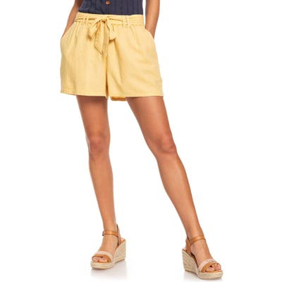 Roxy Steal The Sun Belted Linen Blend Shorts, Yellow