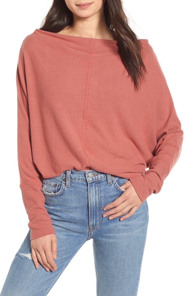 TREASURE & BOND Slouchy Long Sleeve Top, Main, color, RUST MARSALA