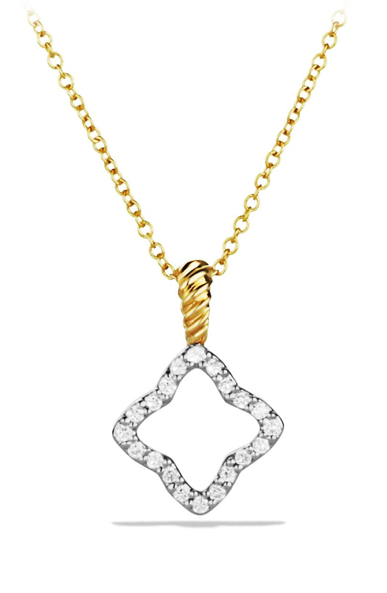 DAVID YURMAN 'Cable Collectibles' Quatrefoil Pendant with Diamonds in Gold on Chain, Main, color, DIAMOND