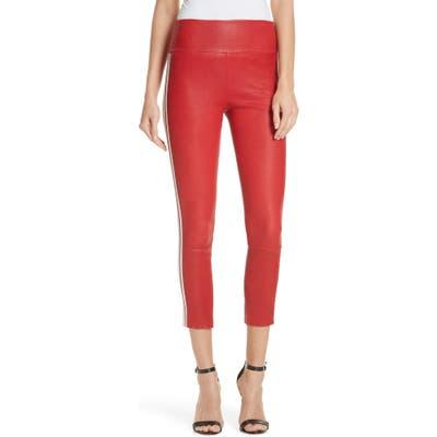 Sprwmn Two-Stripe Athletic Leather Capri Leggings