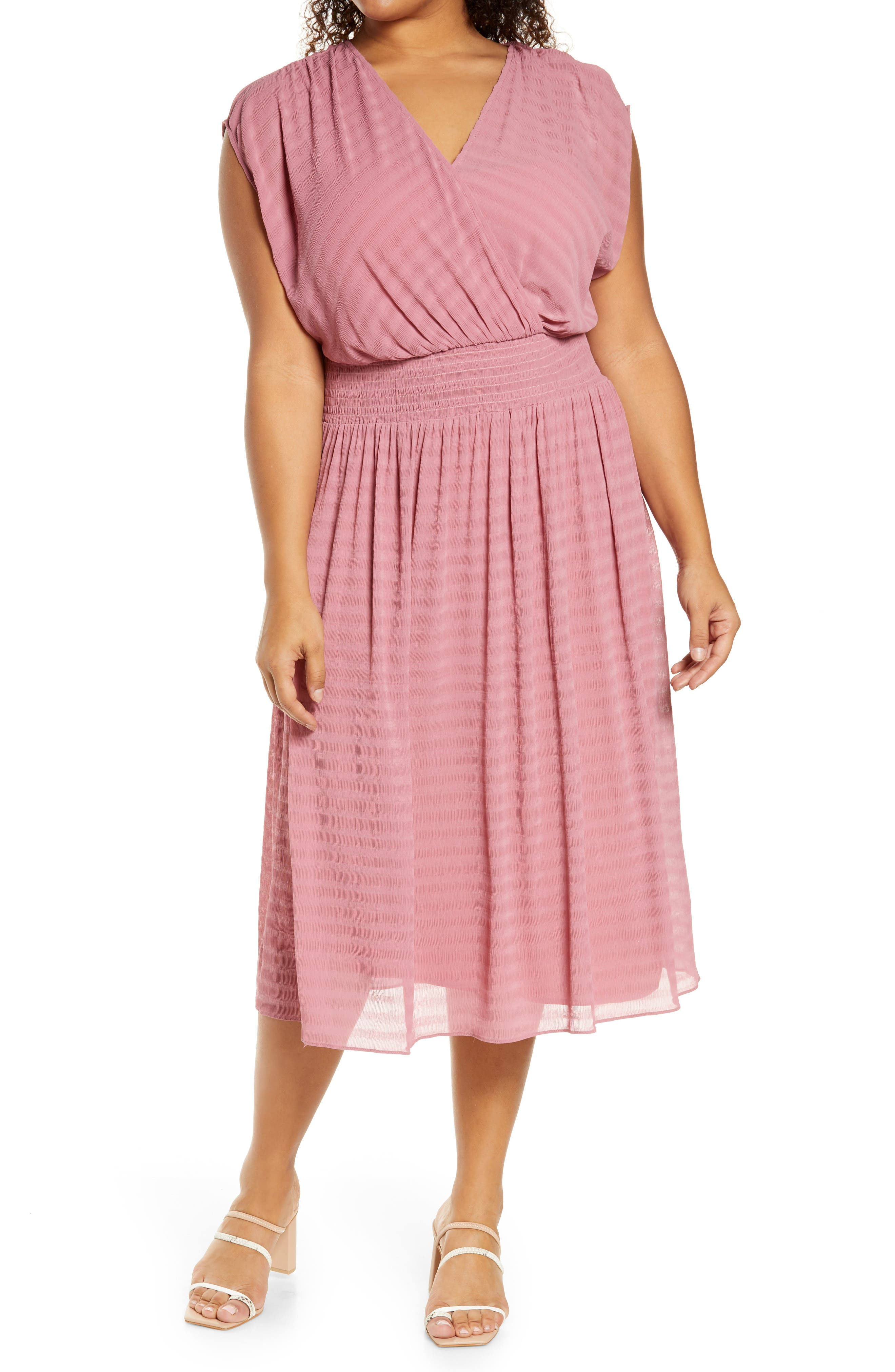 Stripe Smocked Waist Faux Wrap Midi Dress