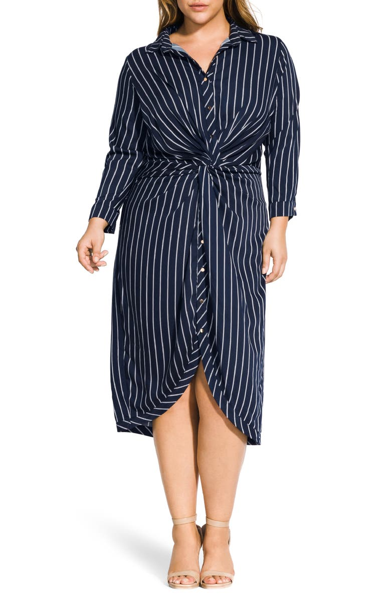CITY CHIC Stripe Twist Shirtdress, Main, color, 406