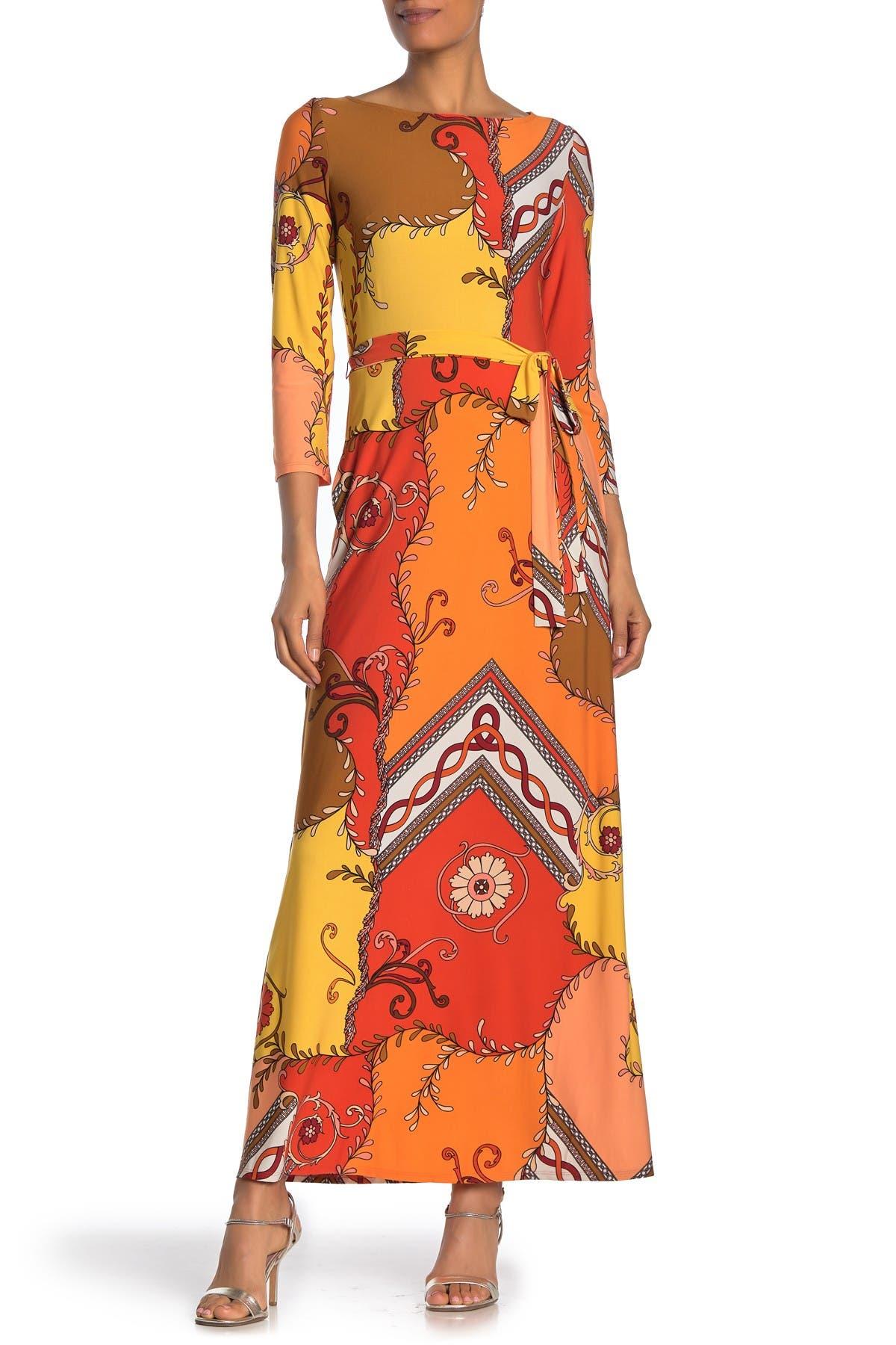Image of Donna Morgan Geo Print 3/4 Sleeve Maxi Dress