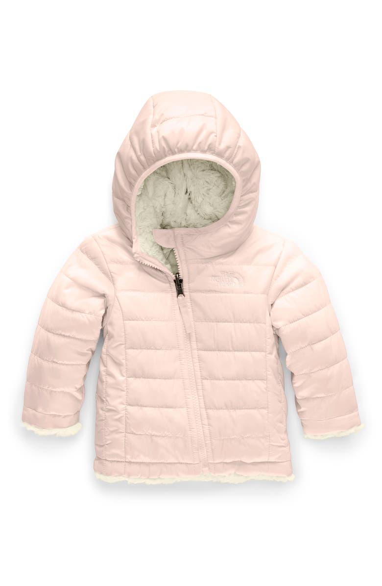 THE NORTH FACE Mossbud Swirl Reversible Water Repellent Heatseeker<sup>™</sup> Jacket, Main, color, PURDY PINK/ VINTAGE WHITE