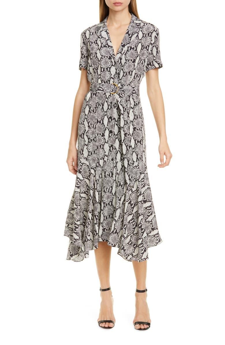 A.L.C. Clarkson Snake Print Silk Midi Dress, Main, color, NUDE SNAKE PRINT