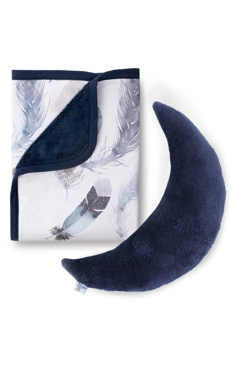 OILO Feathery Cuddle Blanket & Moon Pillow Set, Main, color, FEATHERLY