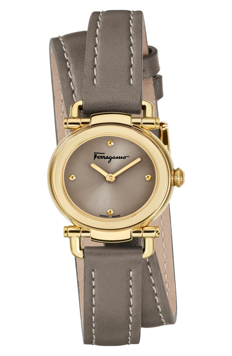 SALVATORE FERRAGAMO Gancino Leather Strap Watch, 26mm, Main, color, BROWN/ GOLD