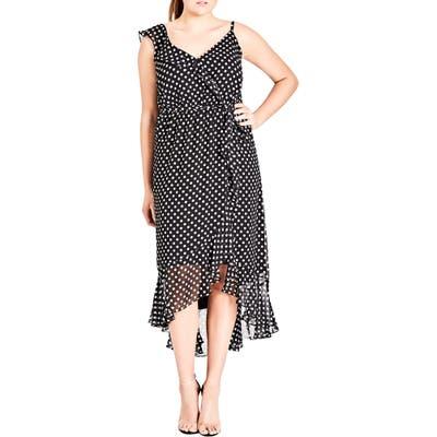Plus Size City Chic Dot Asymmetrical Wrap Dress, Black