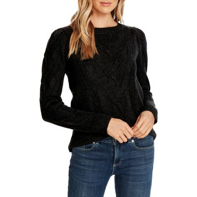 Cece Entwine Cable Knit Sweater, Black