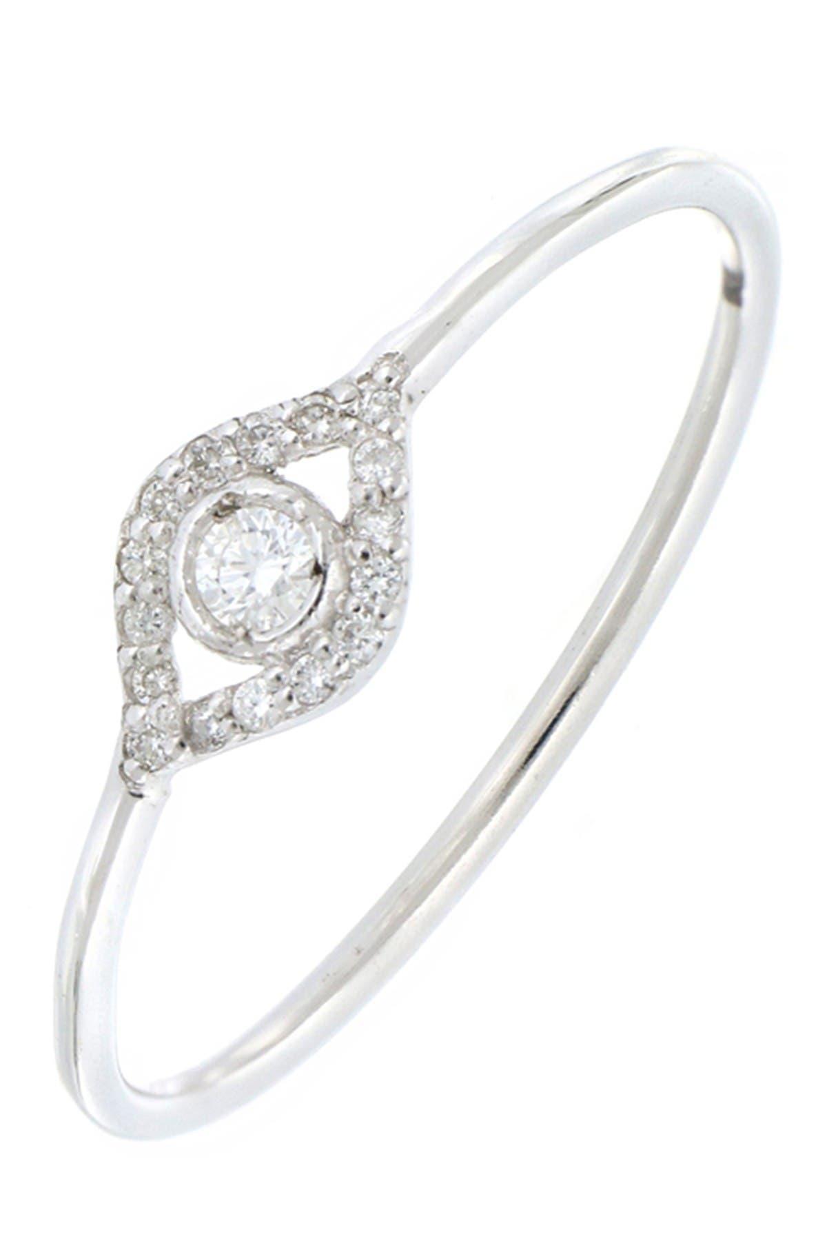 Image of Bony Levy BL Icons 18K White Gold Pave Diamond Petite Evil Eye Ring - 0.08 ctw