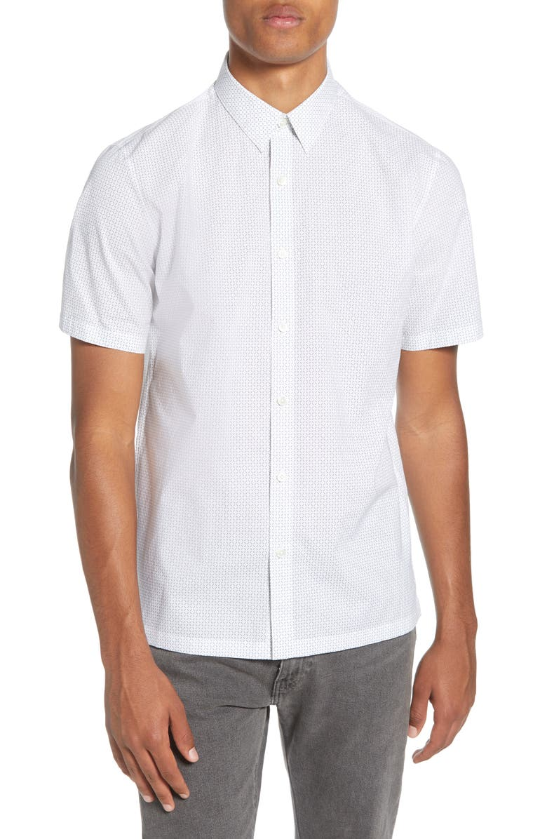 Theory Regular Fit Short Sleeve Cotton Button Up Shirt