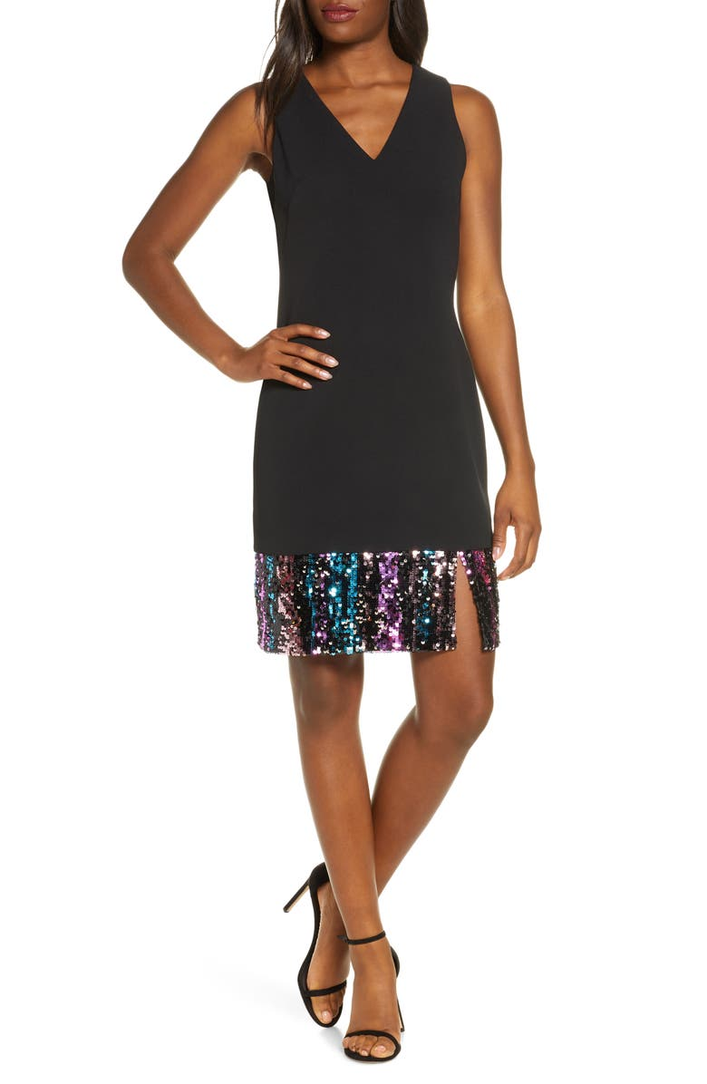 VINCE CAMUTO Sequin Hem Sleeveless A-Line Cocktail Dress, Main, color, BLACK
