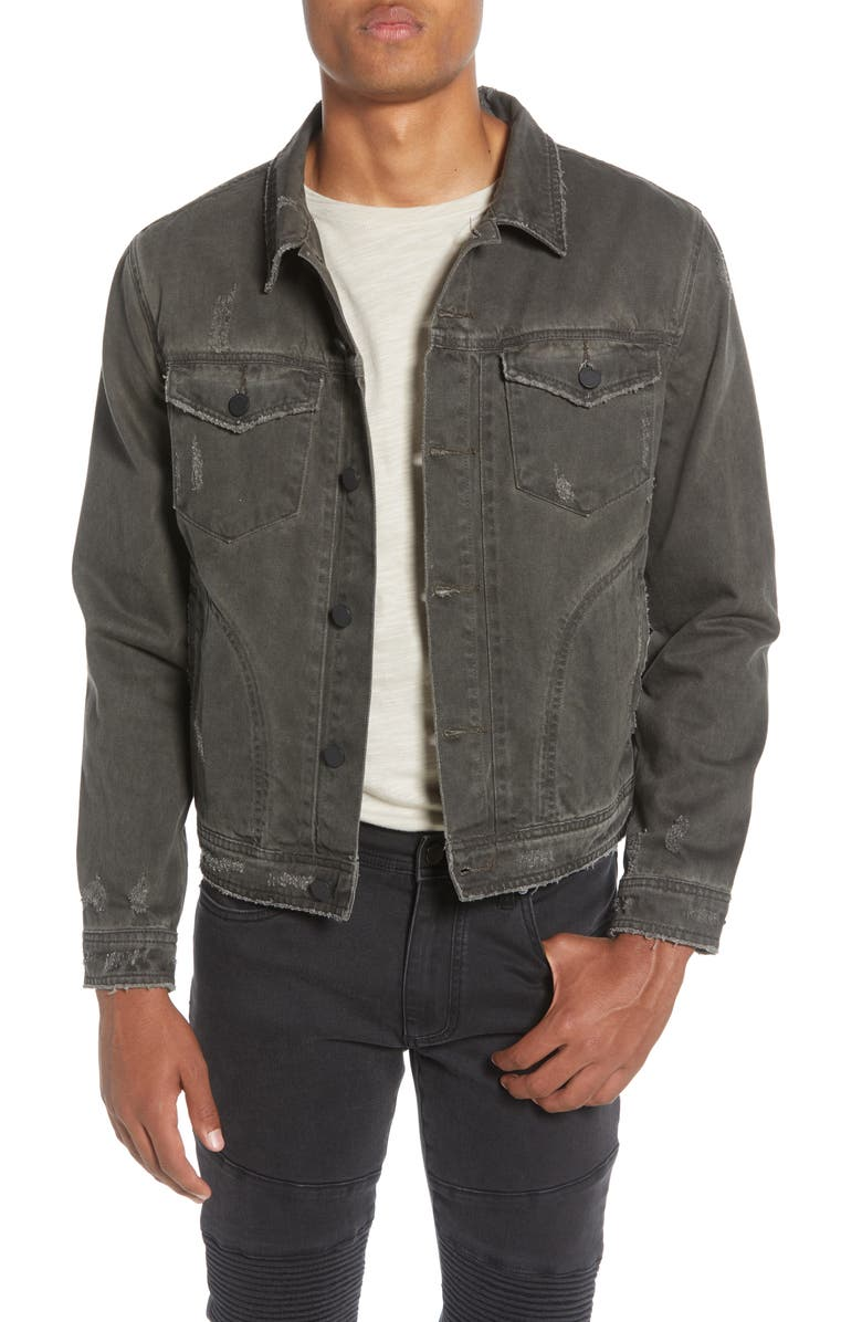 BLANKNYC Distressed Denim Trucker Jacket, Main, color, VENTERSECTION