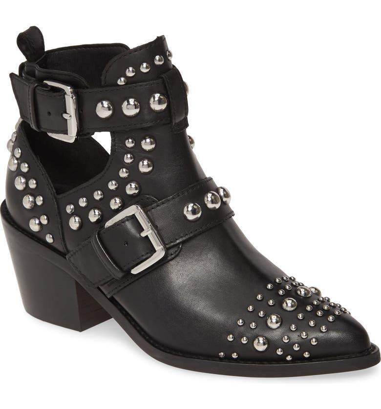 KURT GEIGER LONDON Sybil Studded Bootie, Main, color, BLACK LEATHER