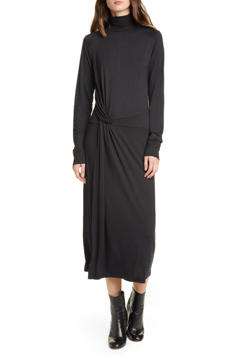 RAG & BONE Draped Long Sleeve Midi Dress, Main, color, 001