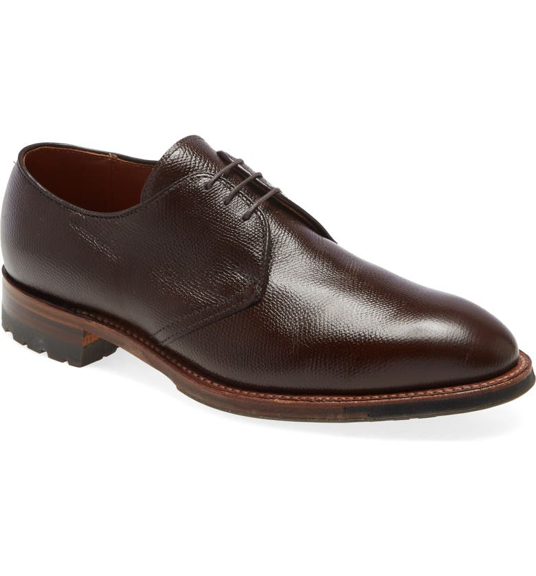 ALDEN Blucher Plain Toe Derby, Main, color, DARK BROWN