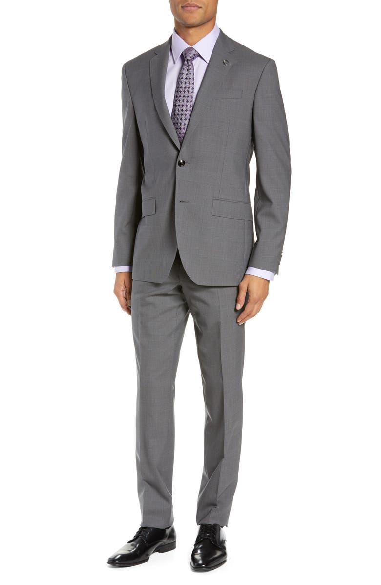 TED BAKER LONDON Jay Trim Fit Plaid Wool Suit, Main, color, 050
