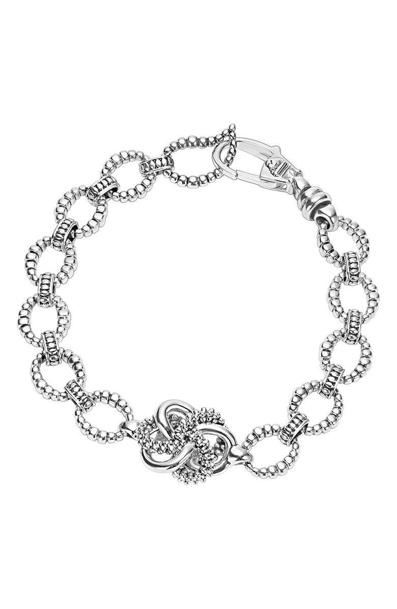 LAGOS 'Love Knot' Link Bracelet, Main, color, STERLING SILVER