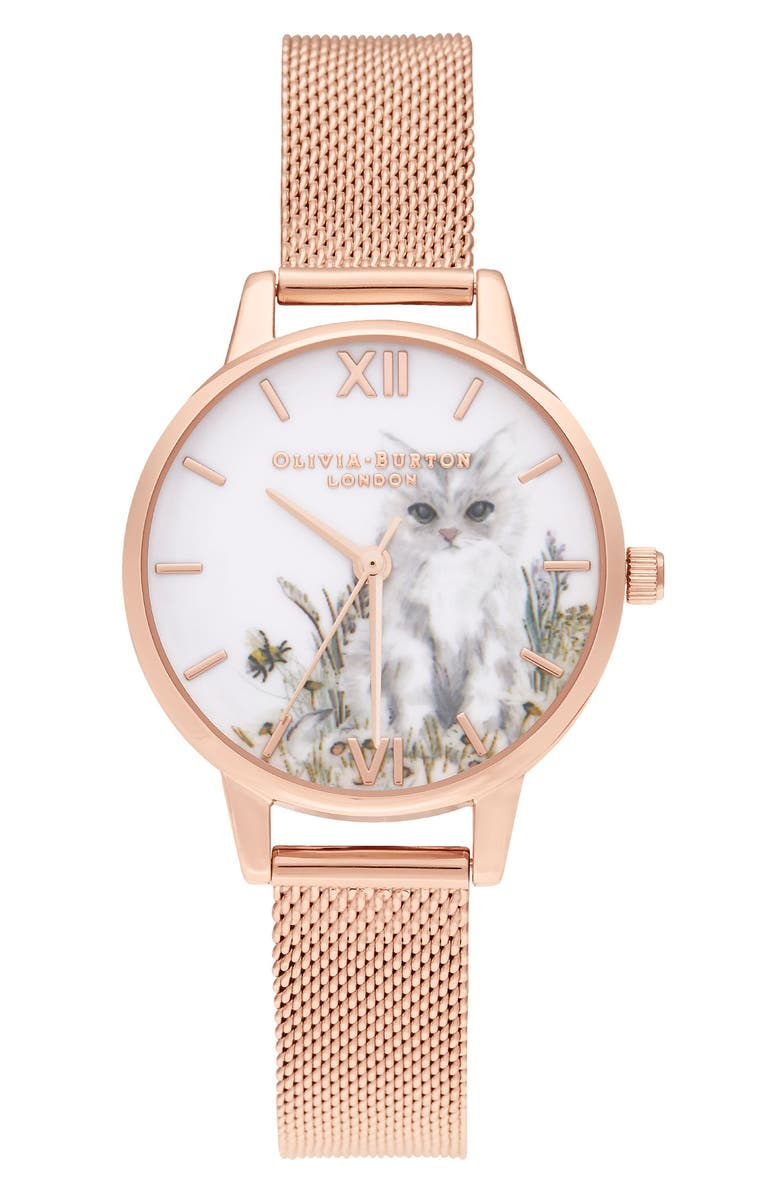 OLIVIA BURTON Illustrated Animals Cat Mesh Strap Watch, 30mm, Main, color, ROSE GOLD/ KITTEN/ ROSE GOLD
