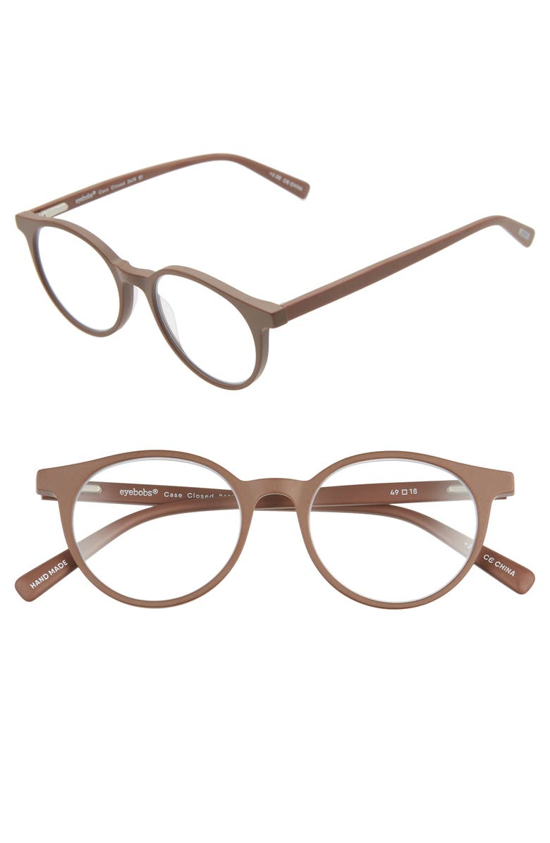 EYEBOBS Case Closed 49mm Round Reading Glasses, Main, color, BROWN MATTE