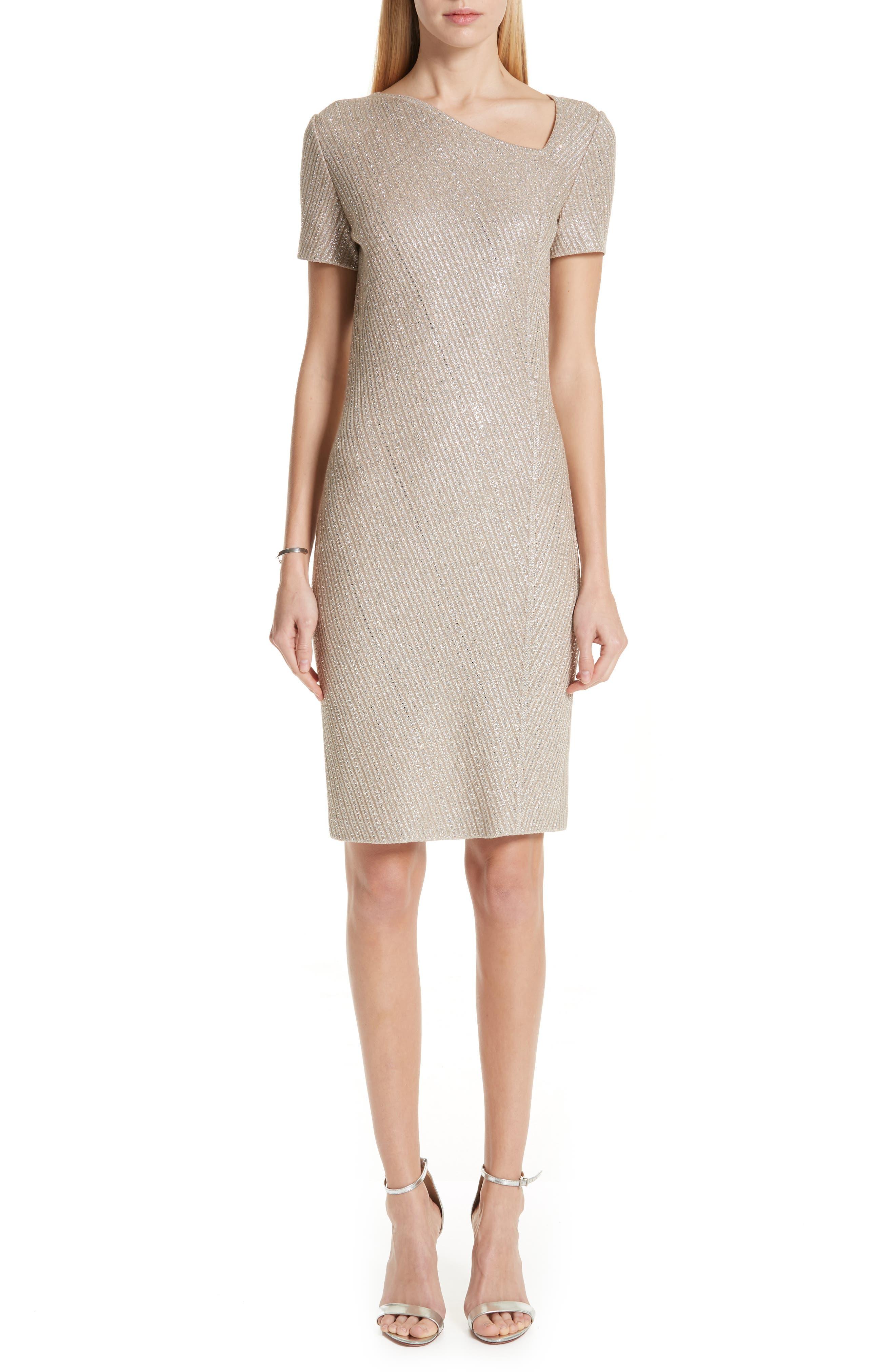 St. John Collection Brielle Knit Asymmetrical Neck Dress, Beige