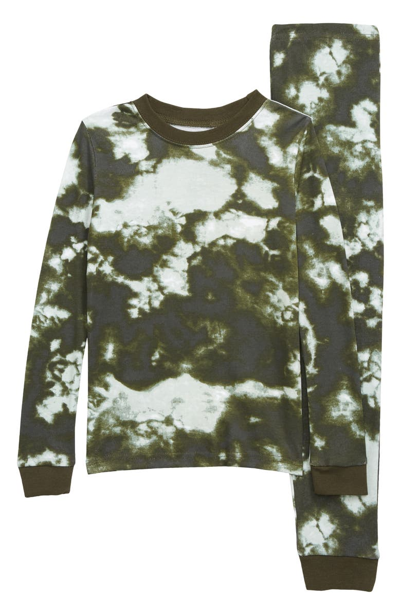 TUCKER + TATE Kids' Fitted Two-Piece Pajamas, Main, color, OLIVE SARMA TIE DYE