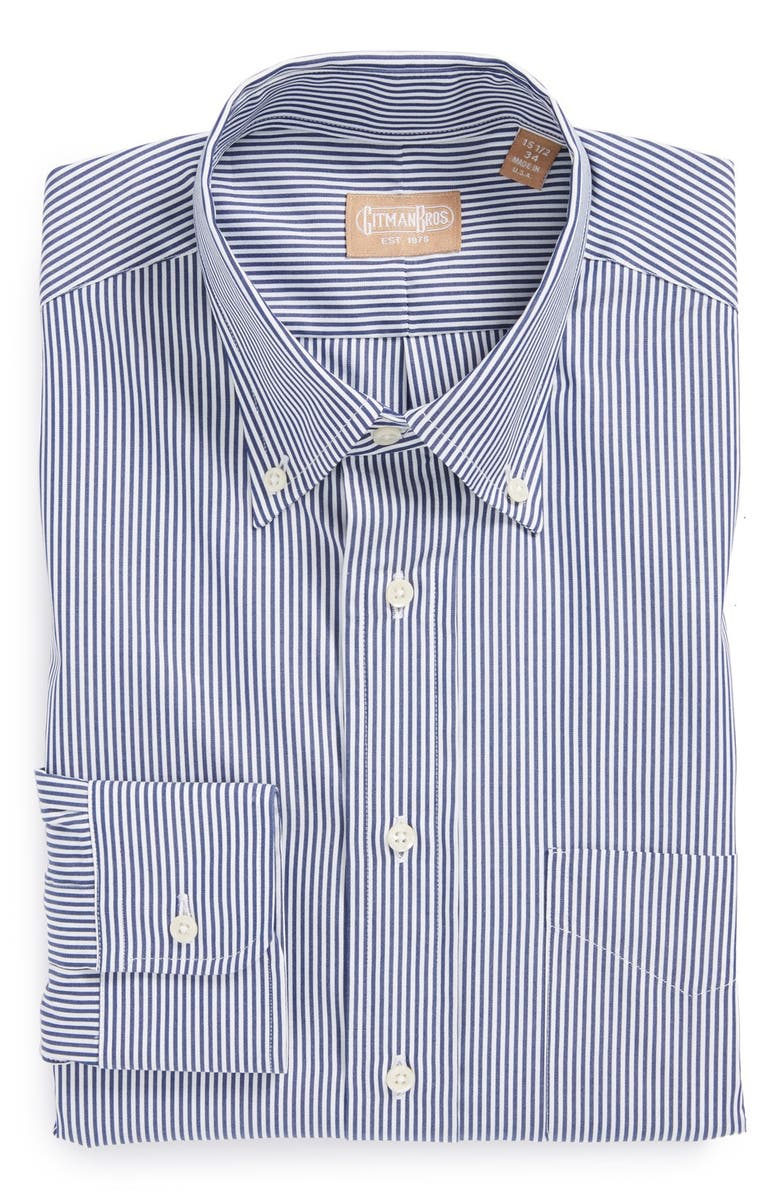 GITMAN Regular Fit Bengal Stripe Cotton Broadcloth Button Down Dress Shirt, Main, color, NAVY