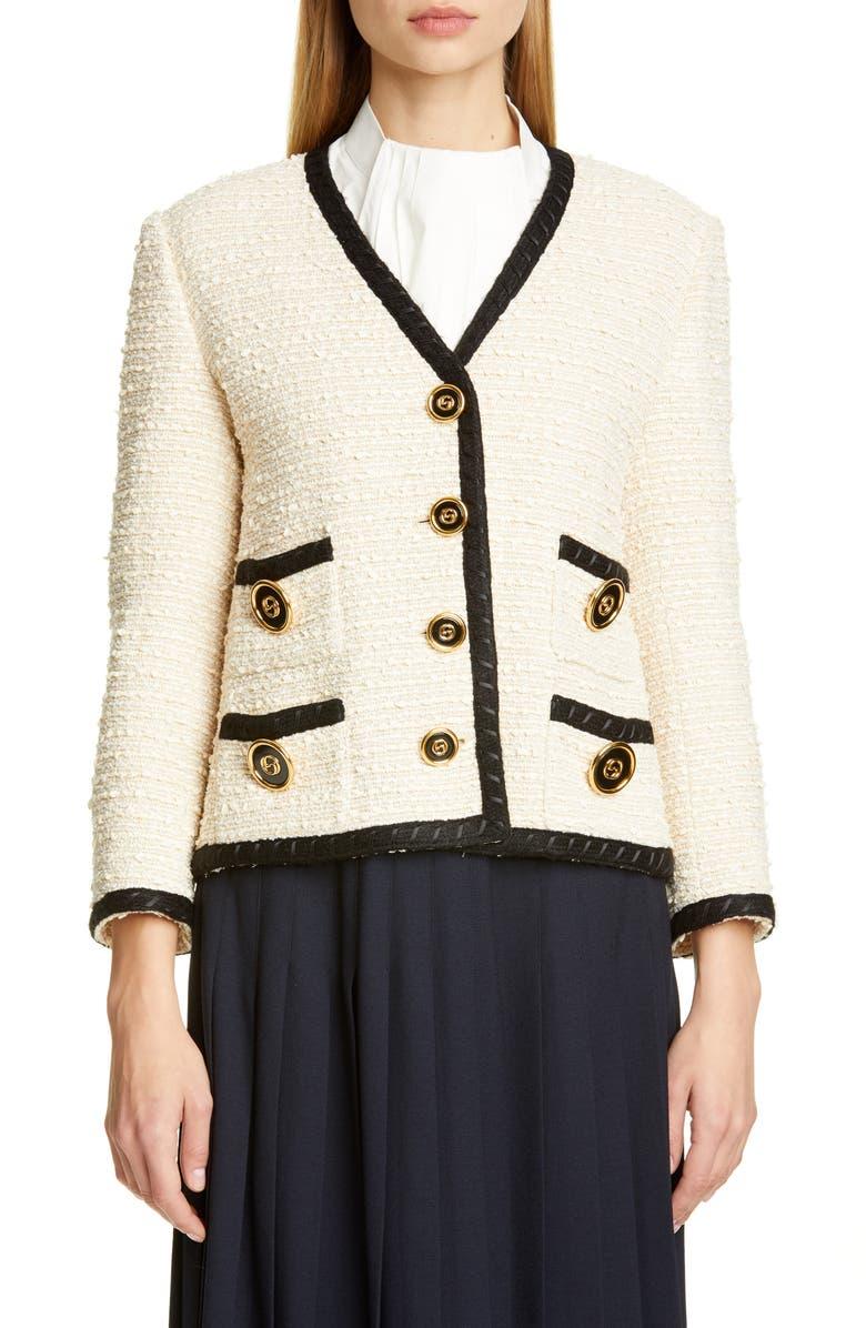 GUCCI Bouclé Tweed Jacket, Main, color, MOONSTONE IVORY