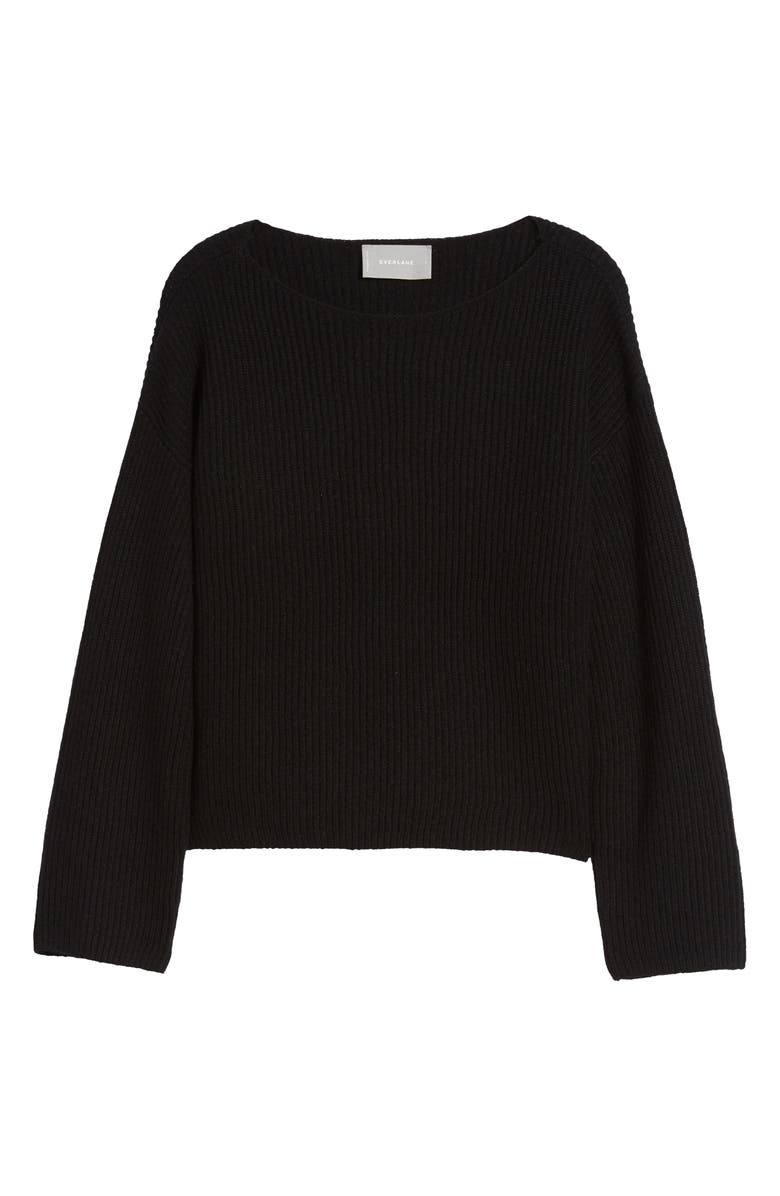 EVERLANE The Cashmere Rib Boatneck Sweater, Main, color, BLACK