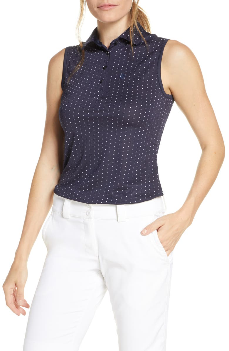 G/FORE Dots Print Sleeveless Polo, Main, color, TWILIGHT