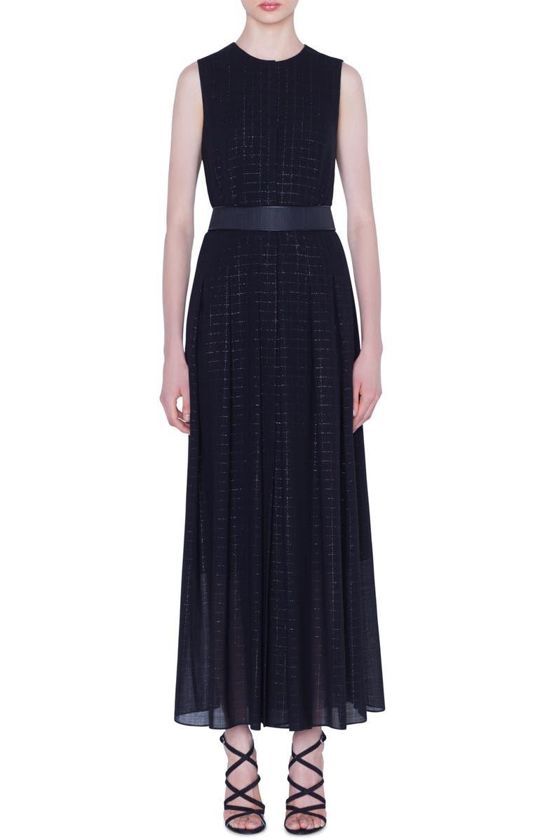 AKRIS Belted Metallic Plaid Wool Blend Maxi Dress, Main, color, 091-BLACK