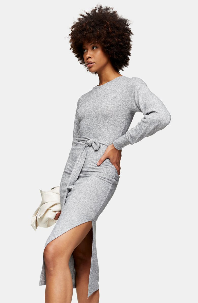 TOPSHOP Long Sleeve Knit Midi Dress, Alternate, color, GREY