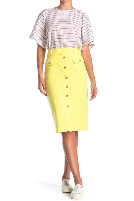 Image of FRNCH Button Front Midi Skirt