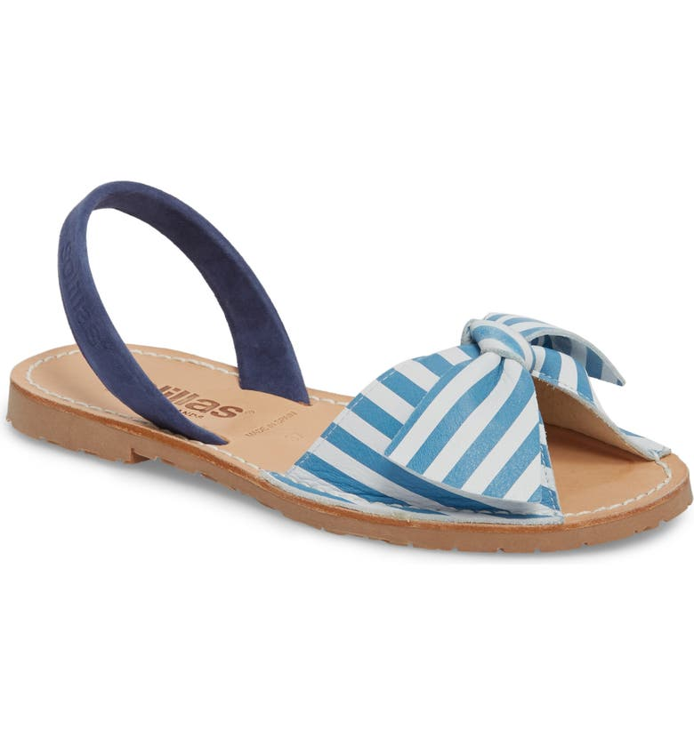 SOLILLAS Bow Sandal, Main, color, BLUE AND WHITE