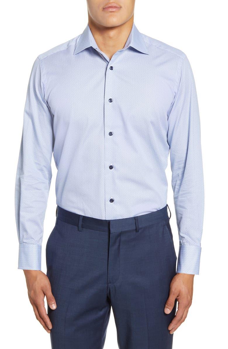 DAVID DONAHUE Trim Fit Floral Dress Shirt, Main, color, BLUE