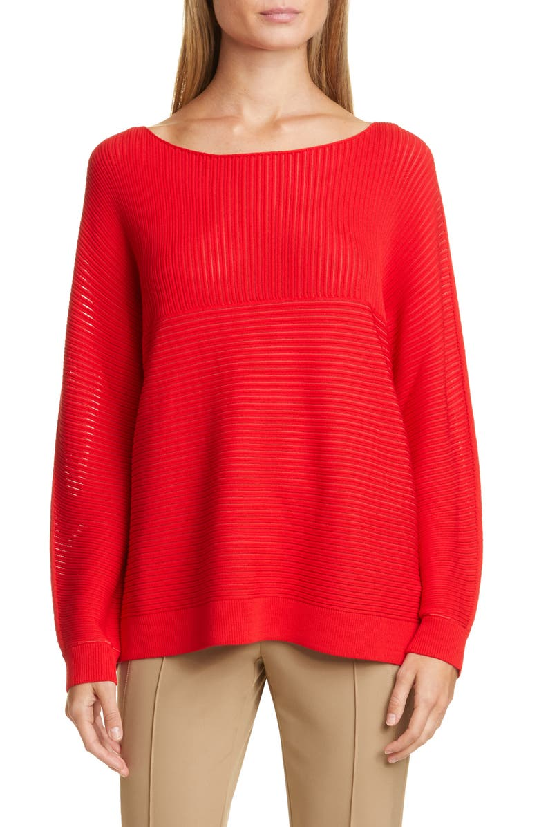 LAFAYETTE 148 NEW YORK Matte Crepe Mixed Links Stitch Sweater, Main, color, CHERRY