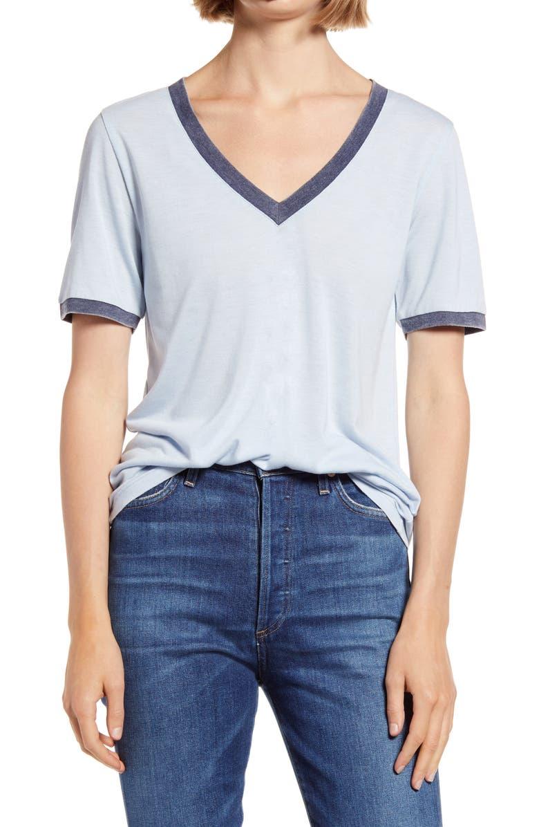 TREASURE & BOND Ringer V-Neck T-Shirt, Main, color, BLUE SKYWAY- NAVY COMBO