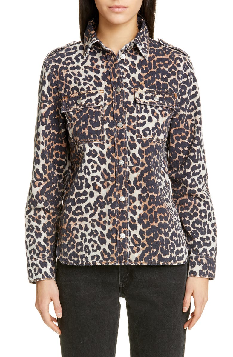 GANNI Leopard Print Denim Jacket, Main, color, LEOPARD