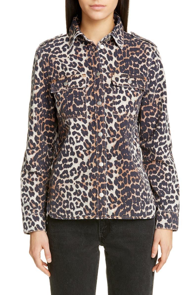 GANNI Leopard Print Denim Jacket, Main, color, LEOPARD