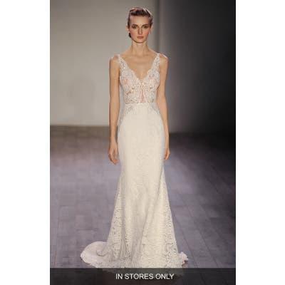 Lazaro V-Neck Lace Trumpet Dress