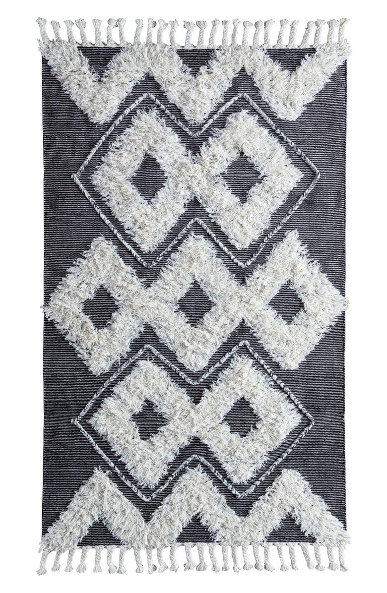 VILLA HOME COLLECTION Santa Rosa Kilim Shag Rug, Main, color, BLACK/ IVORY