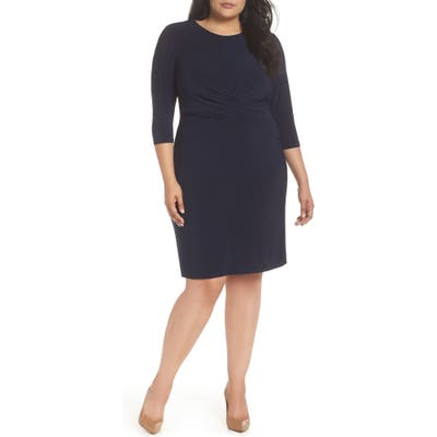 Plus Size Eliza J Ruched Waist Sheath Dress, Blue