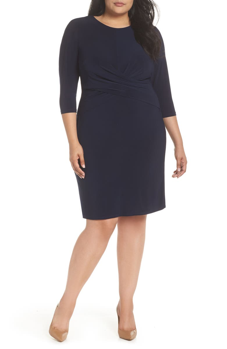 ELIZA J Ruched Waist Sheath Dress, Main, color, NAVY