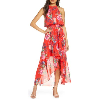Petite Eliza J Popover Halter High/low Chiffon Maxi Dress, Red