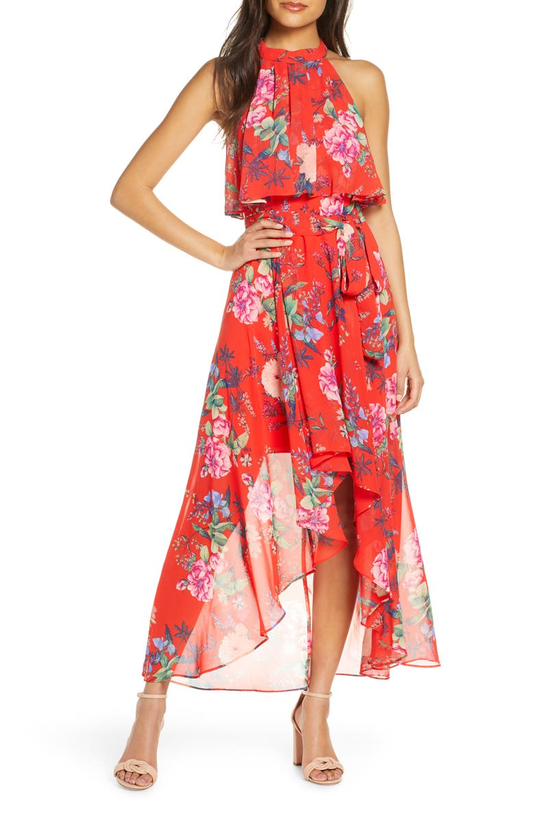 ELIZA J Popover Halter High/Low Chiffon Maxi Dress, Main, color, RED