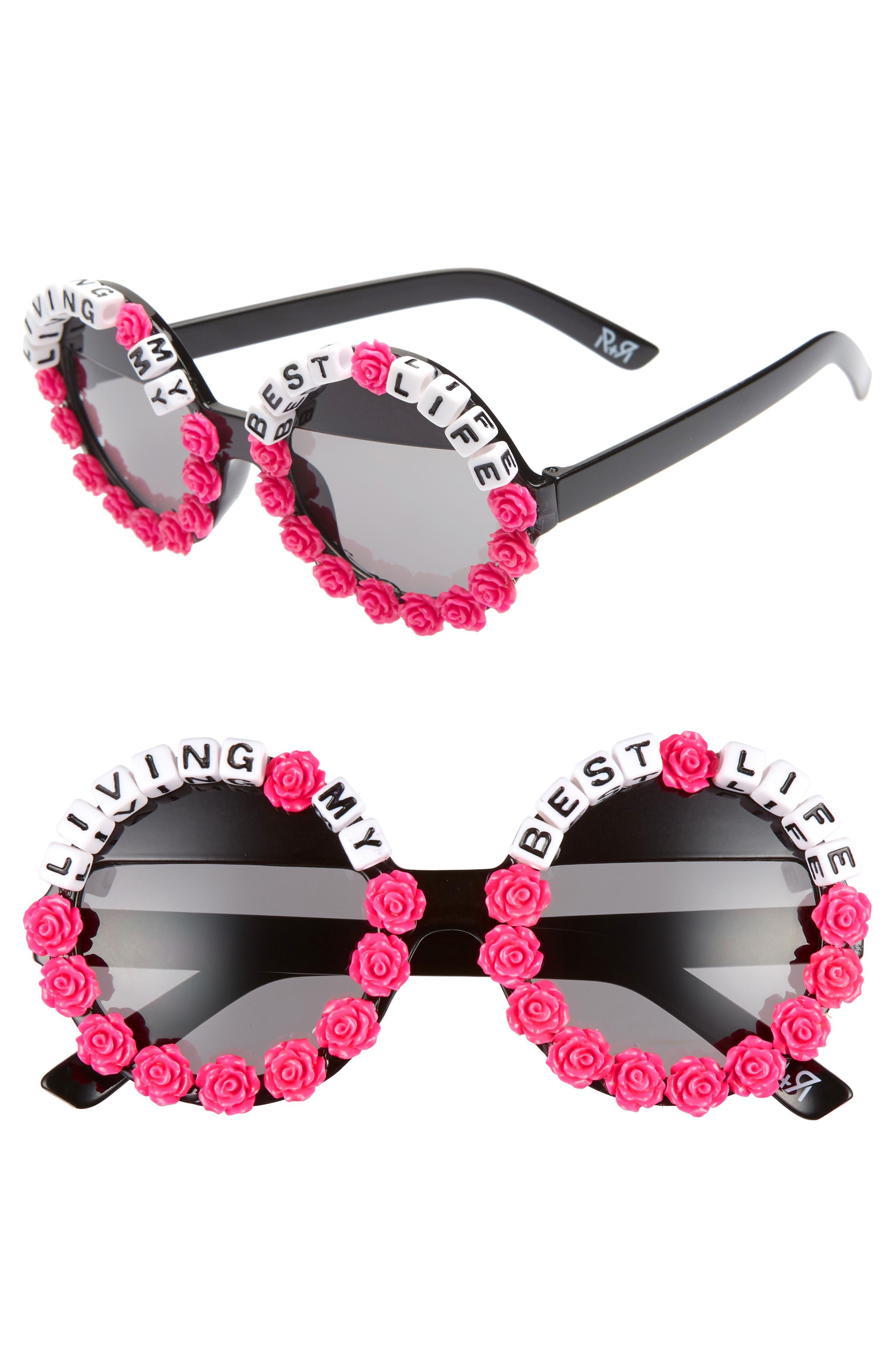 Rad + Refined Living My Best Life Round Sunglasses - Black/ Pink
