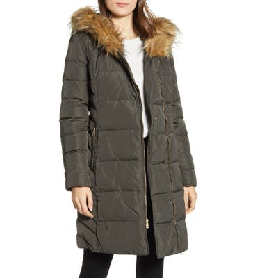 Cole Haan Feather & Down Puffer Jacket With Faux Fur Trim, Green