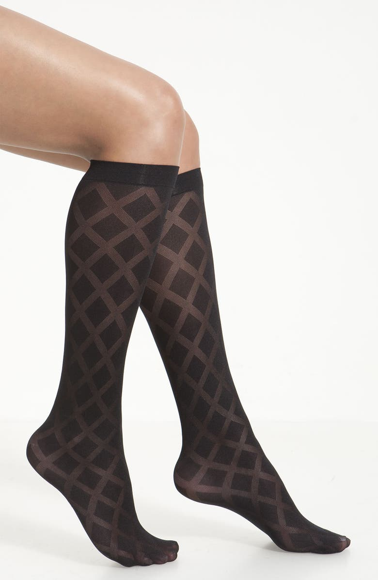 KATE SPADE NEW YORK argyle knee highs, Main, color, 001