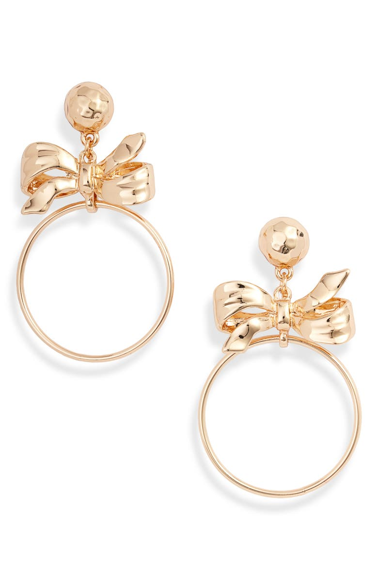 RACHEL PARCELL Bow Hoop Drop Earrings, Main, color, GOLD