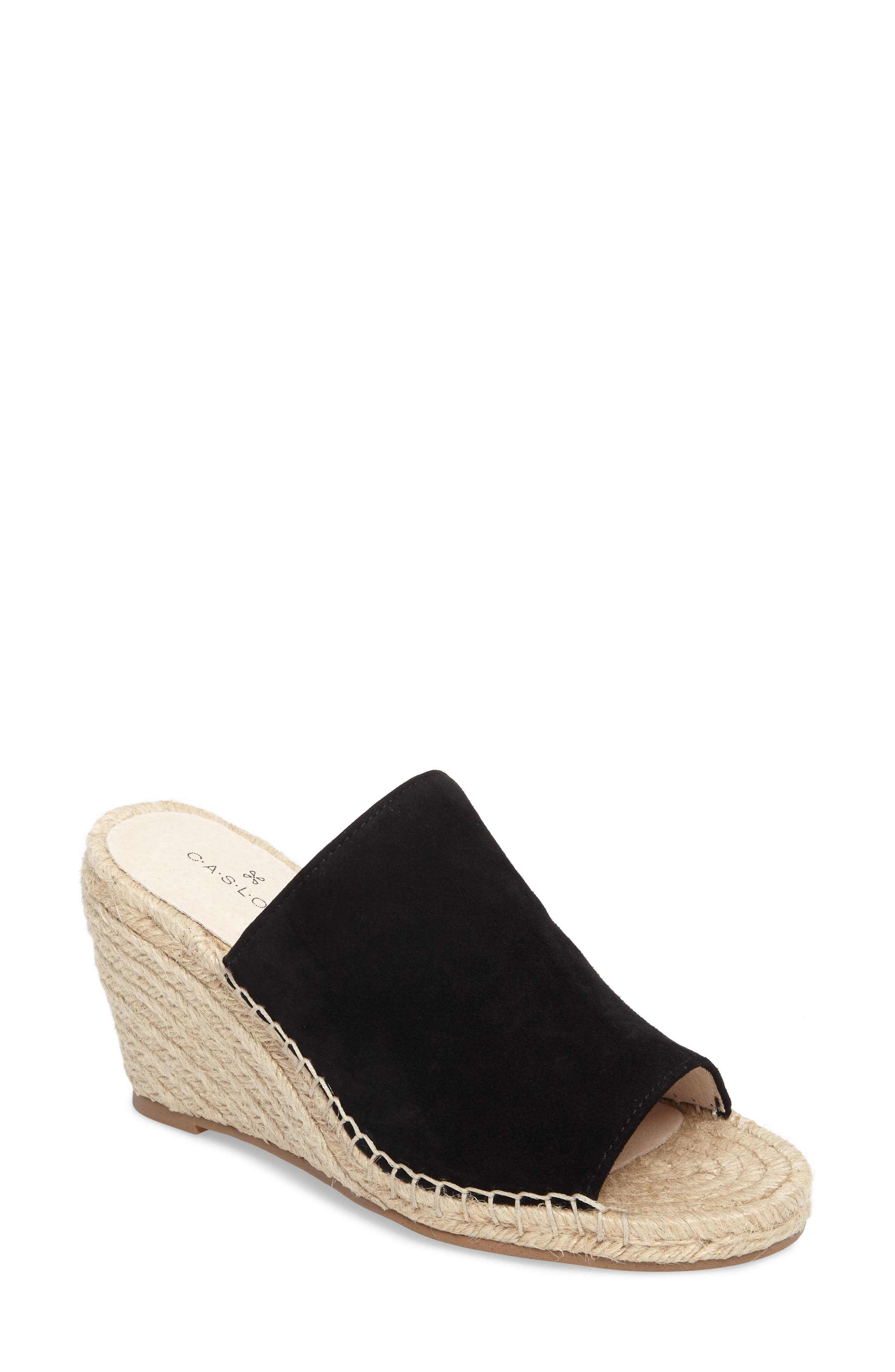 ,                             Sally Wedge Sandal,                             Main thumbnail 1, color,                             BLACK SUEDE